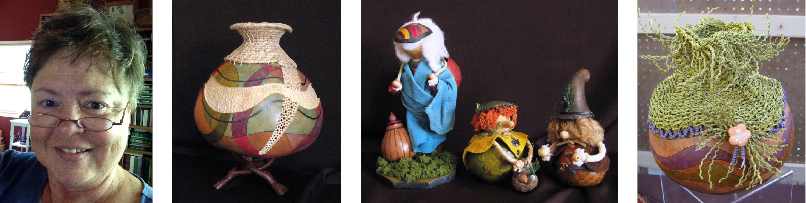 Woman with short brown hair and classes; gourd art