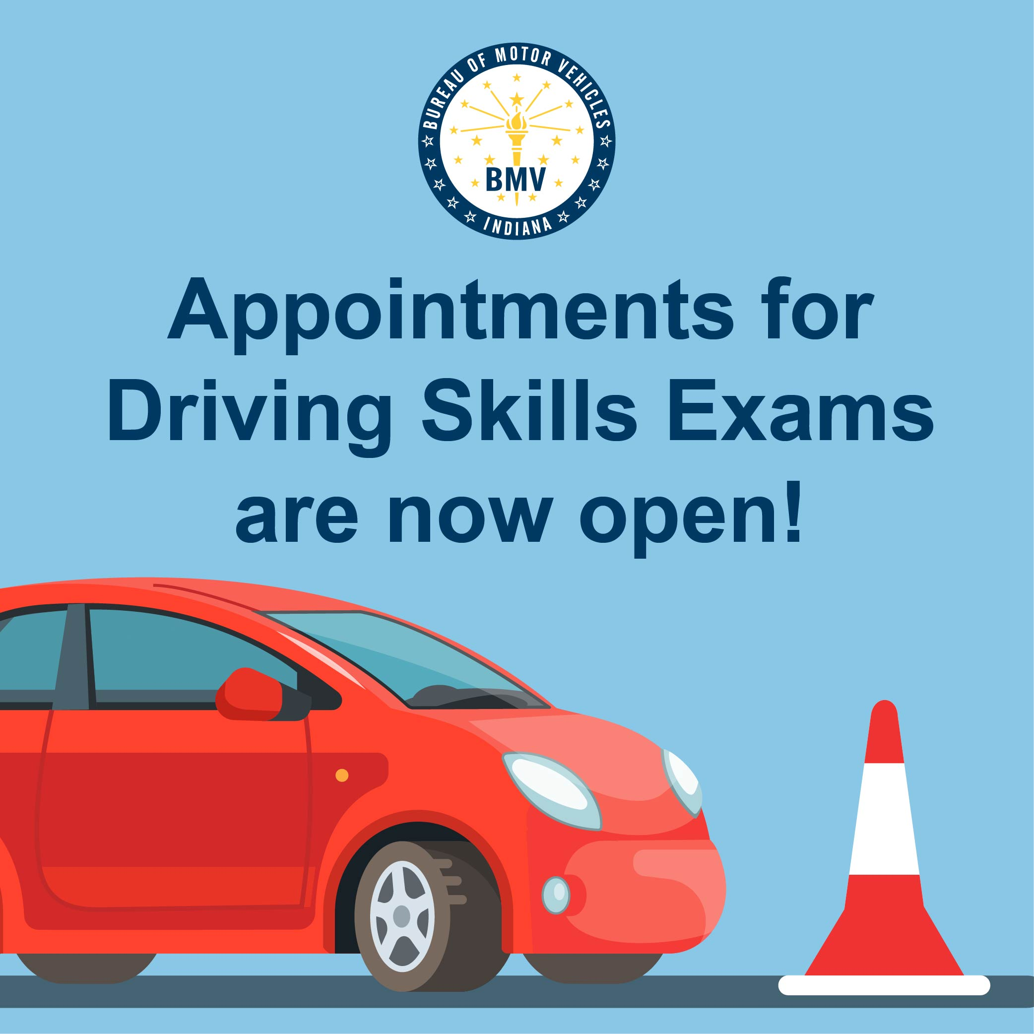 Appointments for Driving Skills Exams are now open!