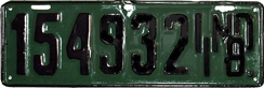1918 License Plate
