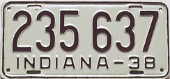1938 License Plate