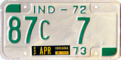 1972 License Plate