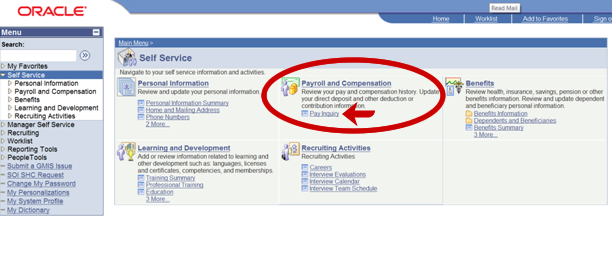 Screenshot of Payroll and Compensation Links