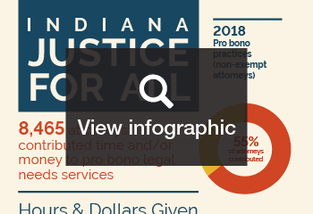 Thumbnail for link to full infographic about 2016 pro bono reporting in Indiana