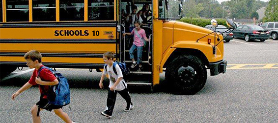 School Safety: Children exiting school bus.