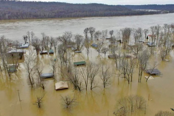 flood, leavenworth, county, town, houses, trees, water