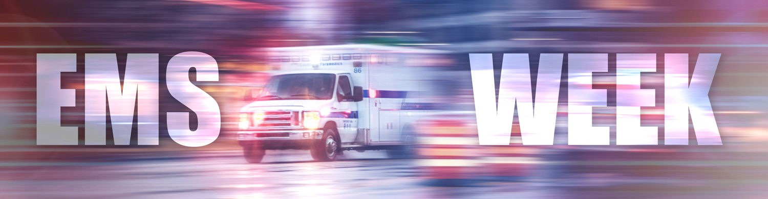 EMS Week banner with ambulance background