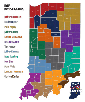Map with counties color-coded with each investigator