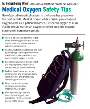 Medical oxygen tank with safety tips listed