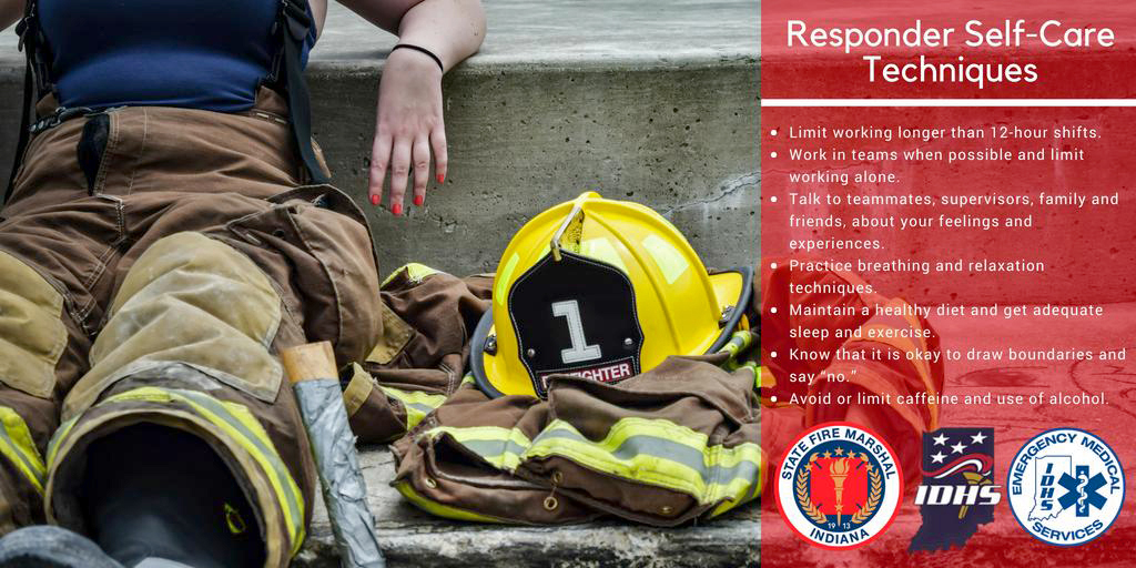 Emergency Responder self-care tips with image of resting firefighter