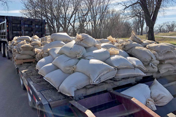 Sandbags loaded on truck bed