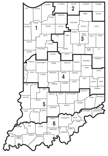 Indiana Fisheries Biologists District Map