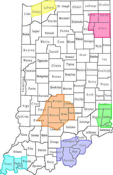Map of Indiana showing Forest Legacy Areas