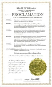 Indiana Archaeology Month Proclamation