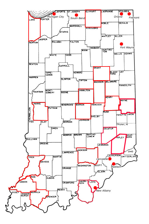 DNR Underground Railroad Sites In Indiana - Map of indiana cities