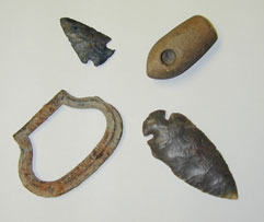 Artifacts recovered at archaeological sites.