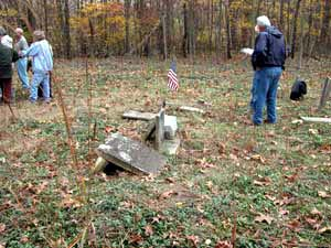 Volunteers learn about cemetery surveying