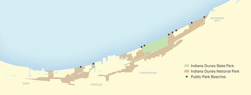 Map of Indiana Lake Michigan Shoreline showing public areas