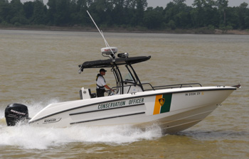 Indiana Conservation Officer patrols the Ohio River near Evansville