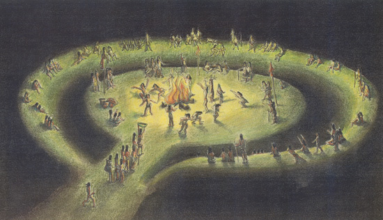 Artist's rendering of ceremony on the Great Mound at Mounds State Park