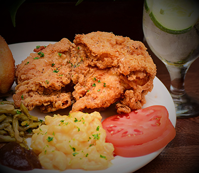 Food on plate, fried chicken