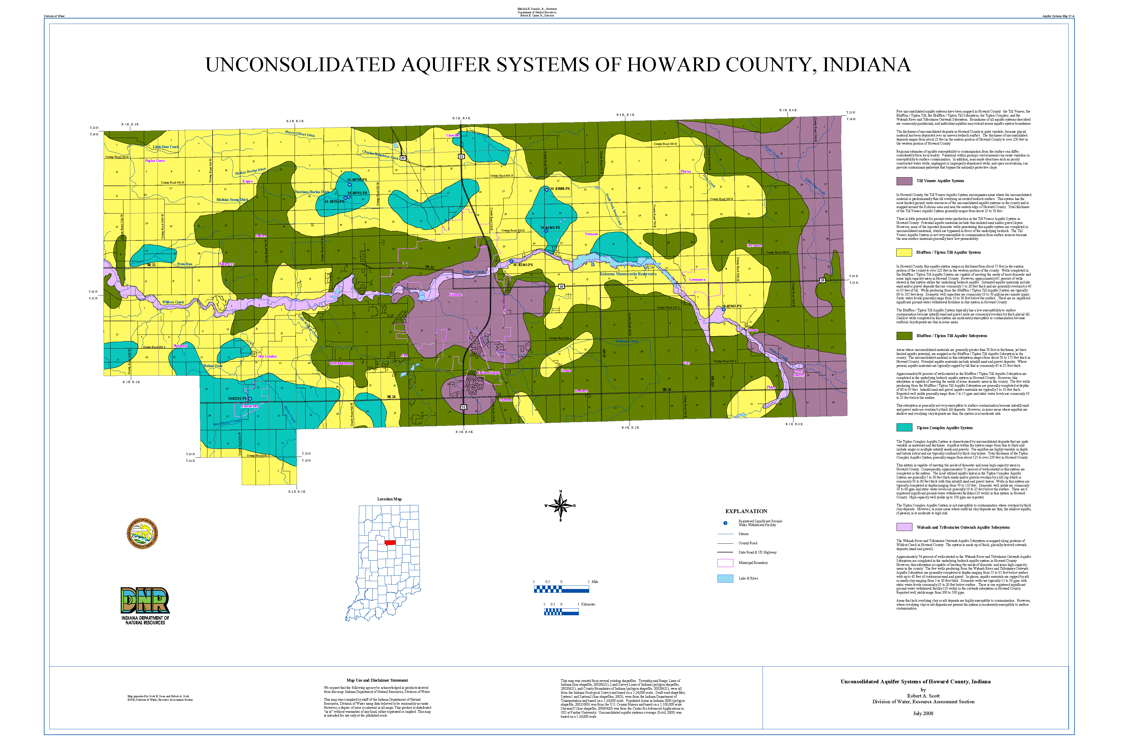Howard County Indiana Map.Dnr Aquifer Systems Maps 47 A And 47 B Unconsolidated And Bedrock