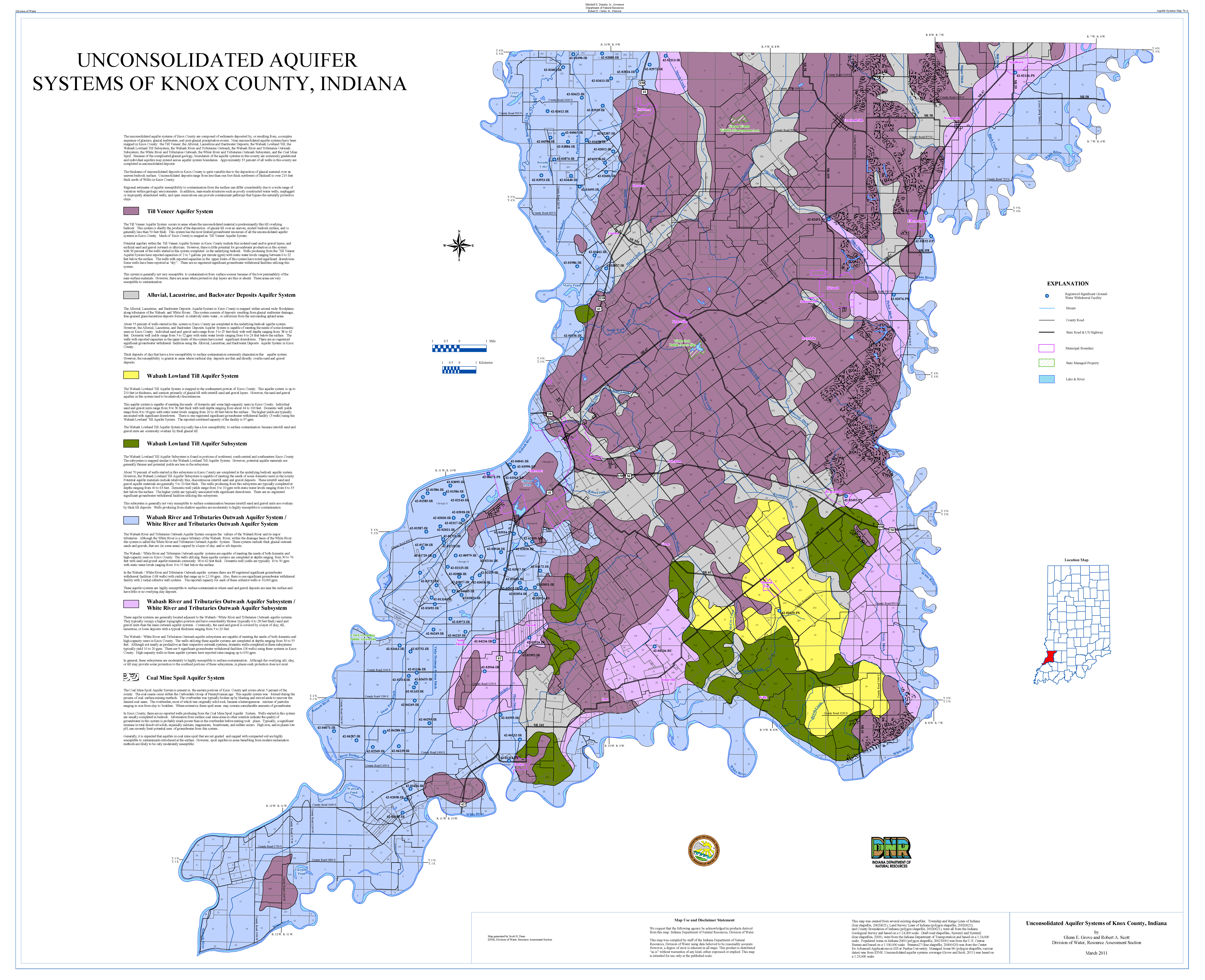 Knox County Indiana Map.Dnr Aquifer Systems Maps 76 A And 76 B Unconsolidated And Bedrock
