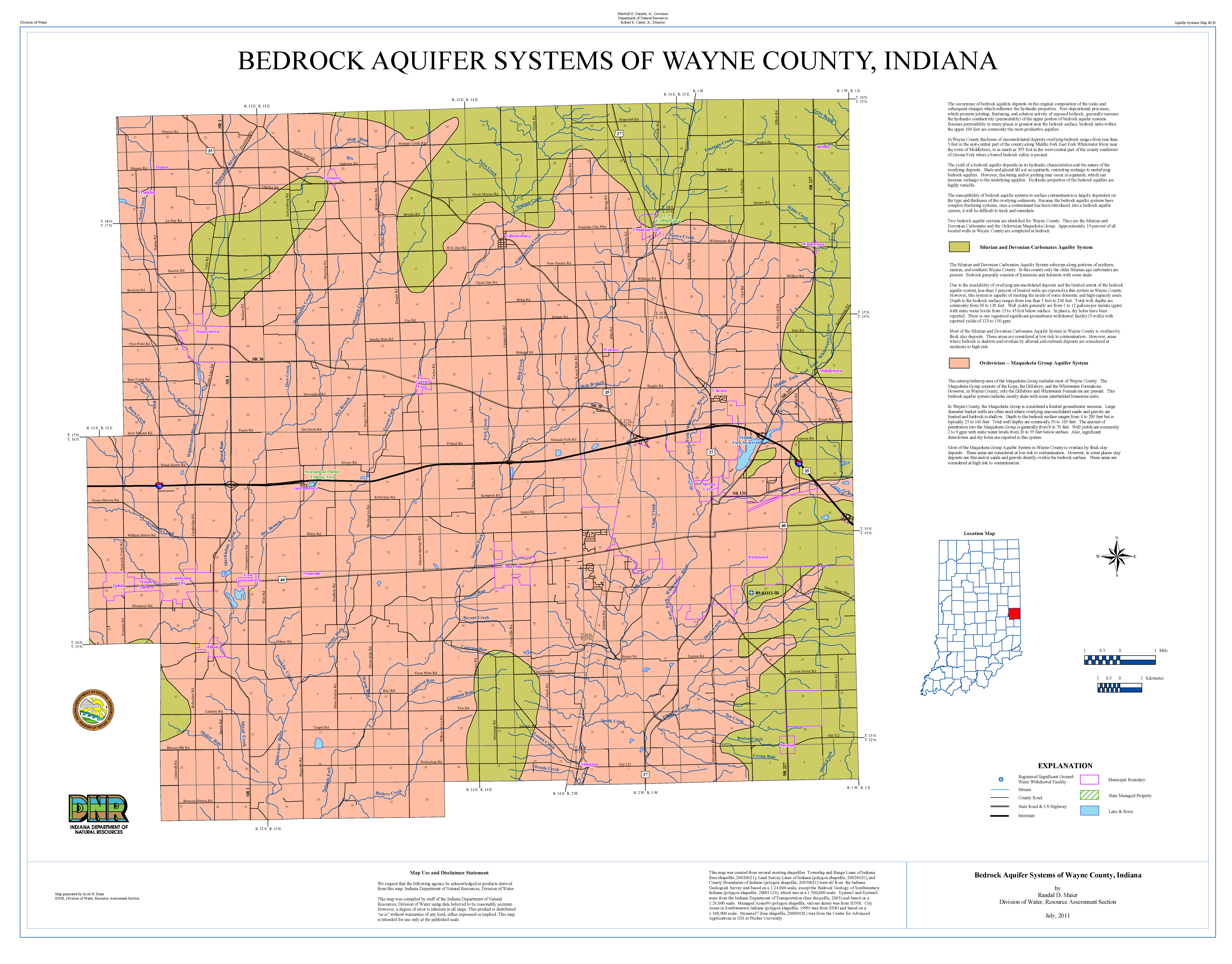 Aquifer Systems Maps 83 A And 83 B Unconsolidated And Bedrock Aquifer Systems Of Wayne County Indiana 2011