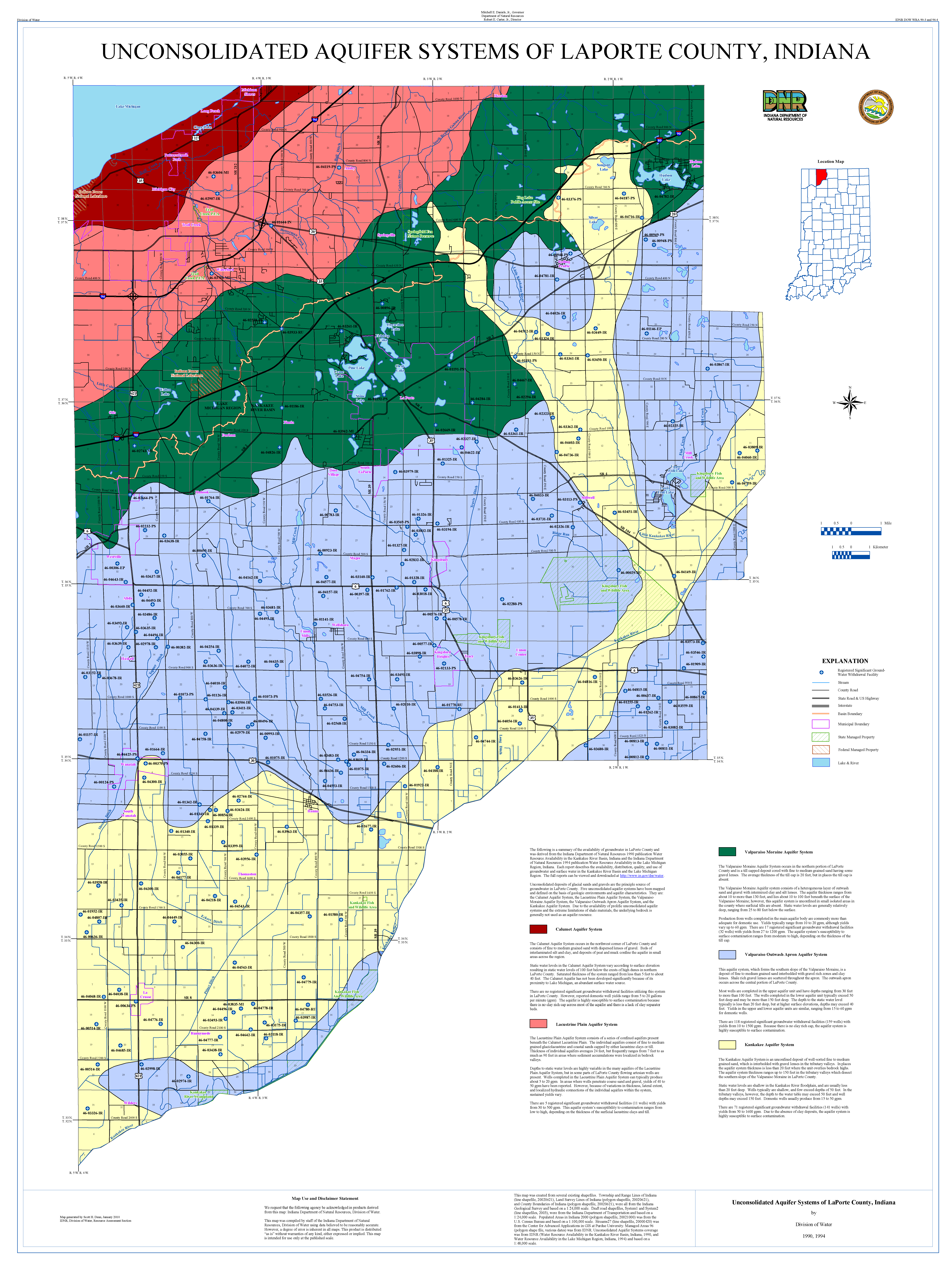 Dnr Unconsolidated And Bedrock Aquifer Systems Of Laporte County