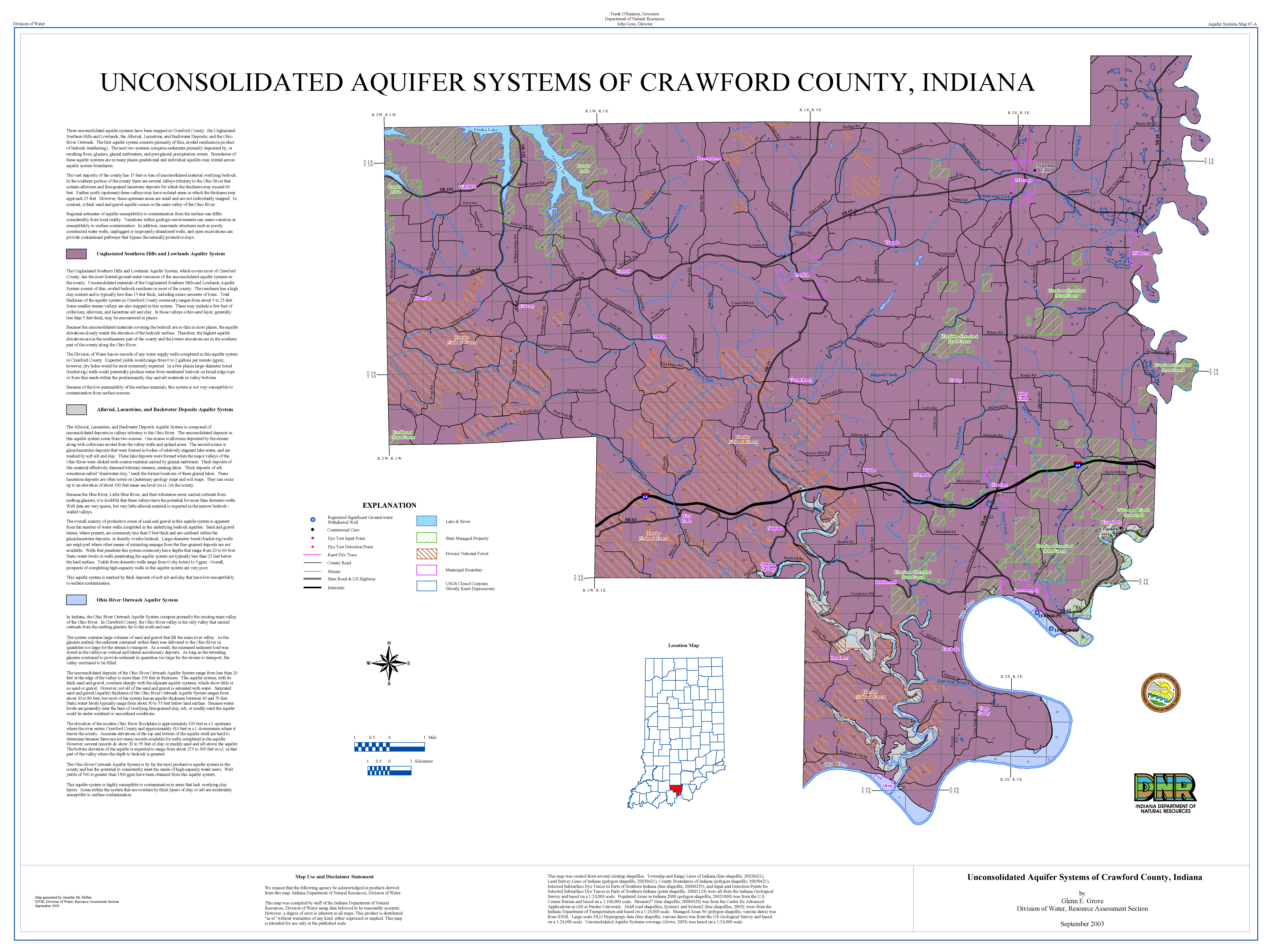 DNR: Aquifer Systems Maps 07 A and 07 B: Unconsolidated and
