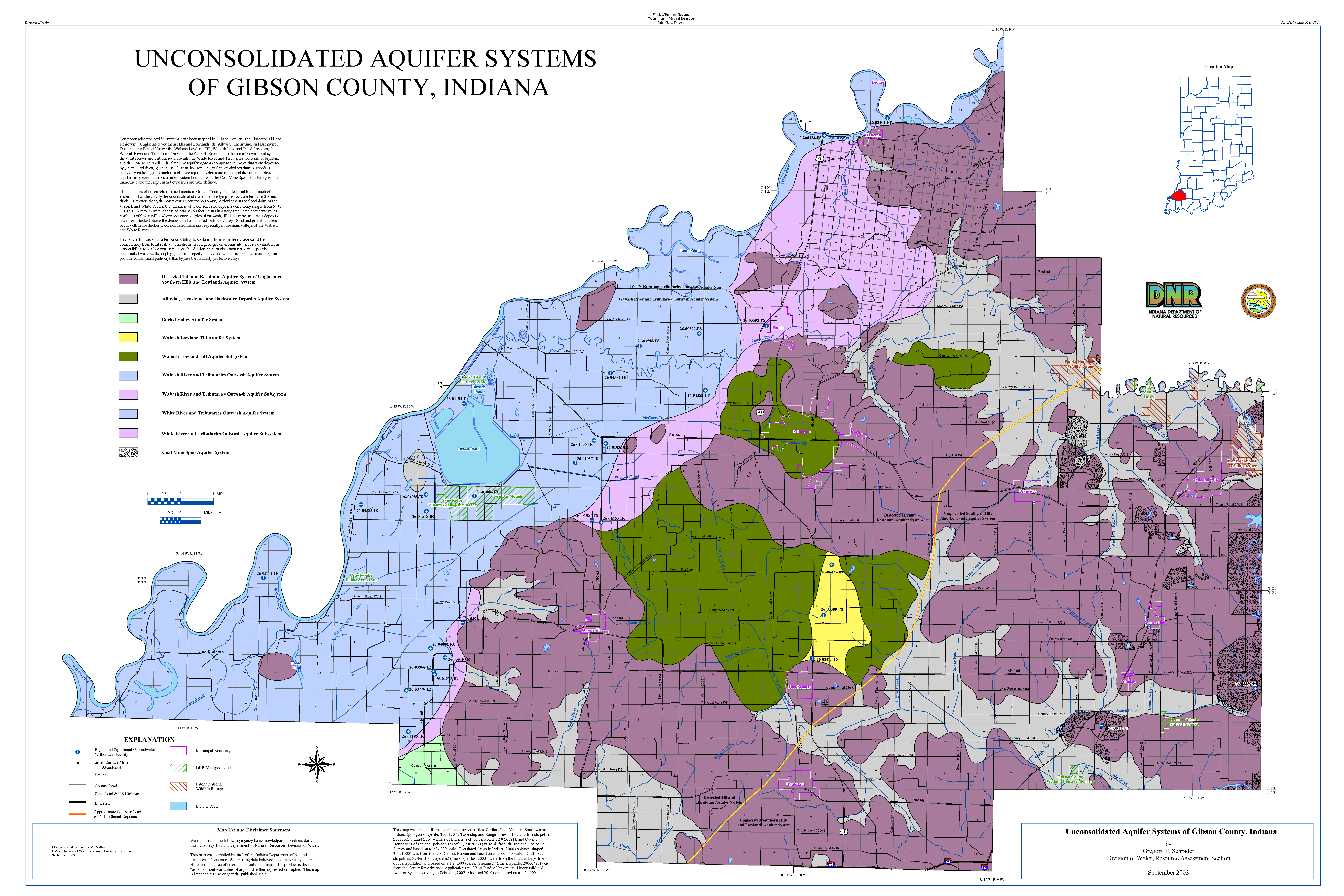 Gibson County Indiana Map.Dnr Aquifer Systems Maps 08 A And 08 B Unconsolidated And Bedrock