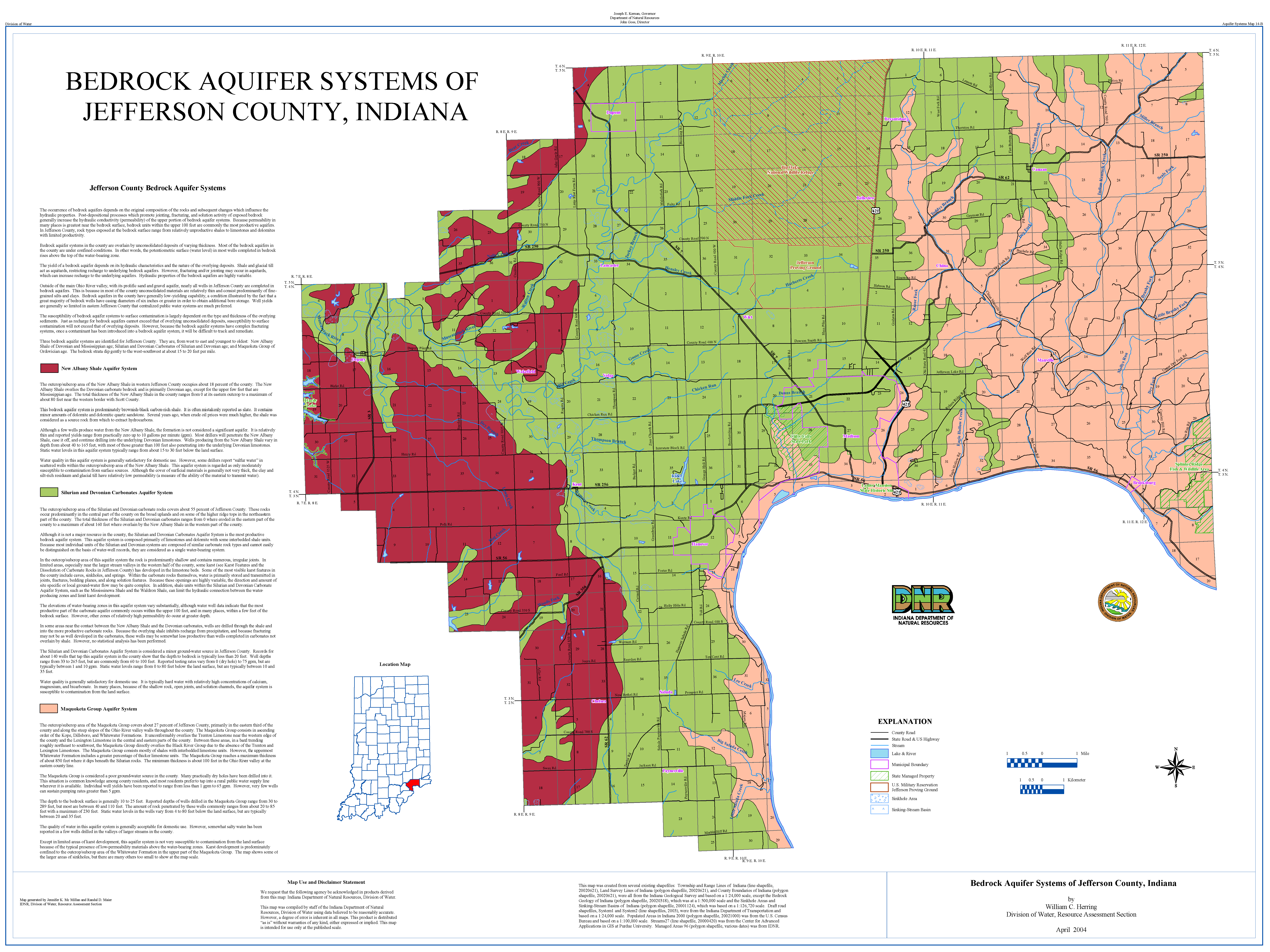 Jefferson County Indiana Map.Dnr Aquifer Systems Maps 14 A And 14 B Unconsolidated And Bedrock