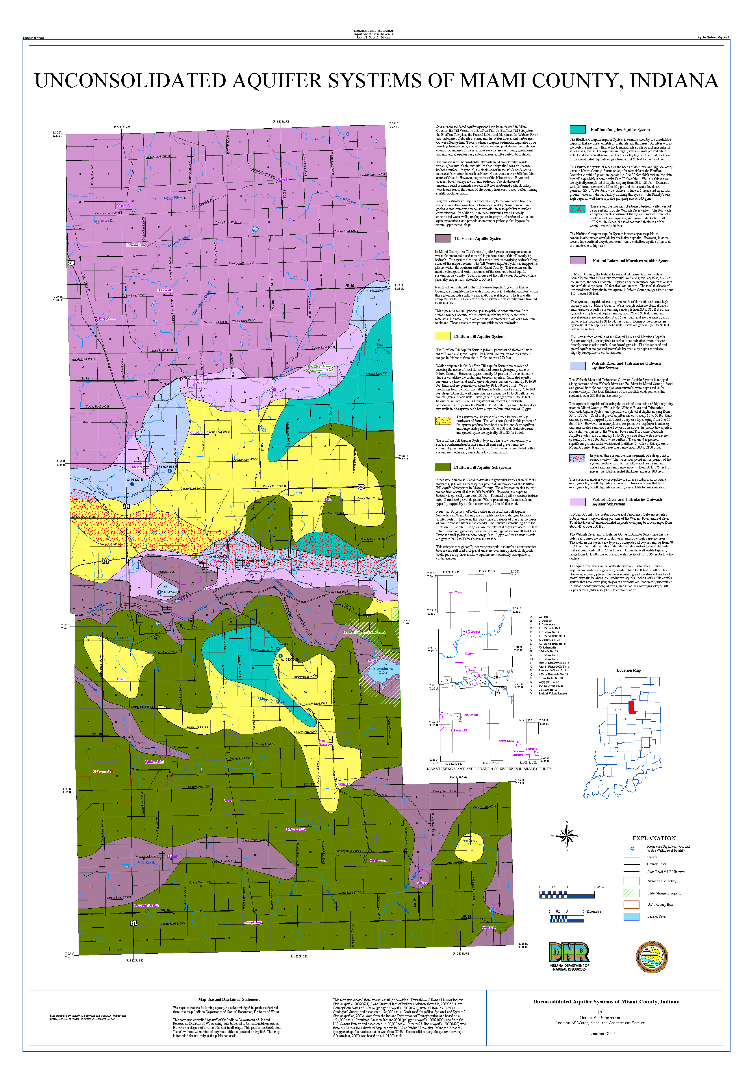 DNR Aquifer Systems Maps A  B Unconsolidated And Bedrock - Map of miami county indiana