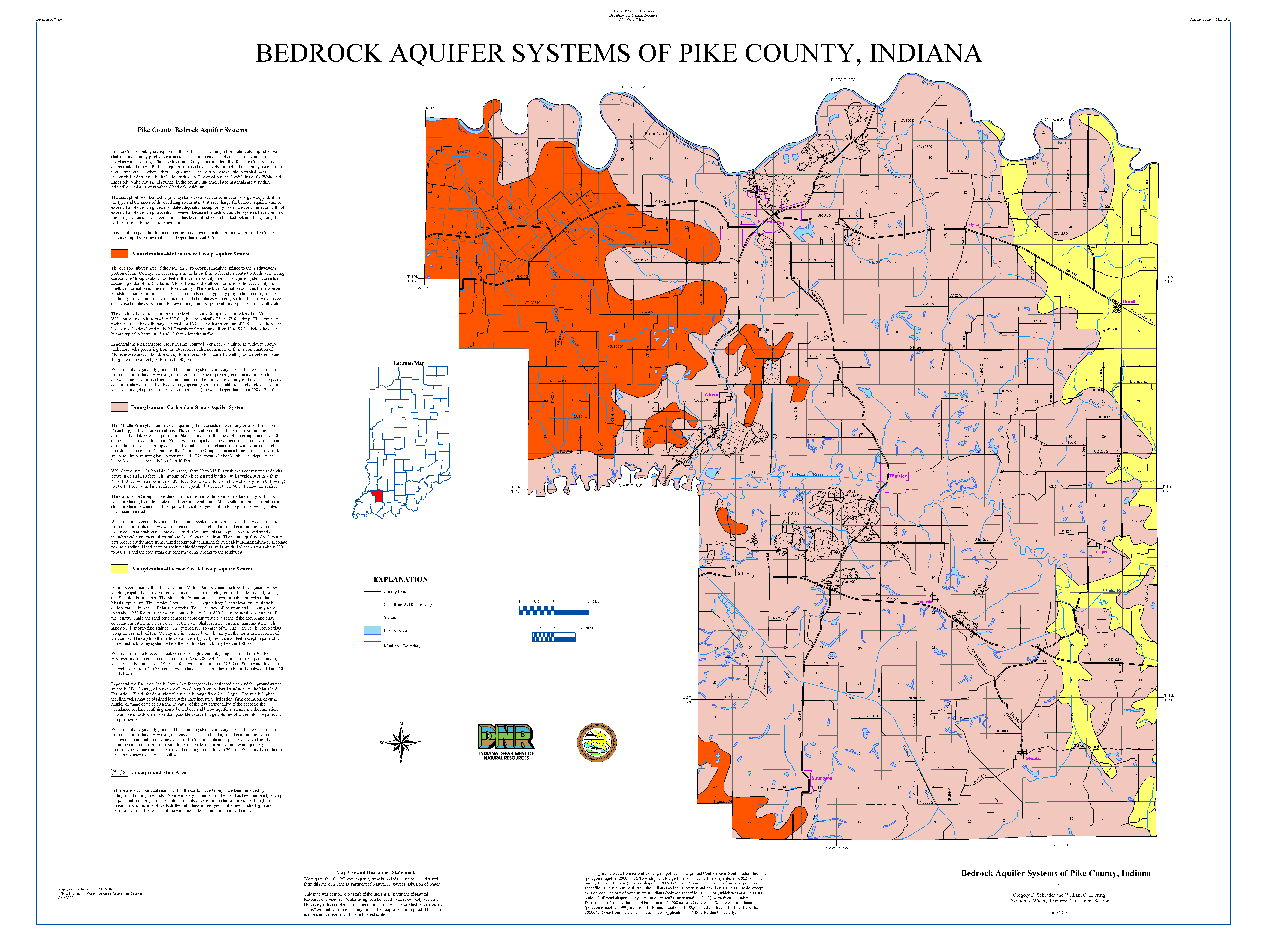 Pike County Indiana Map.Dnr Aquifer Systems Maps 03 A 03 B Unconsolidated And Bedrock