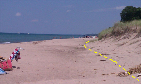 Image showing the physical characteristics test to determine the location of the ordinary high water mark along the Lake Michigan shoreline in Indiana