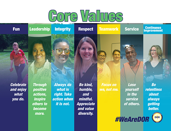 DOR's COR Values: • Continuous Improvement • Fun • Integrity • Leadership • Respect • Service •Teamwork