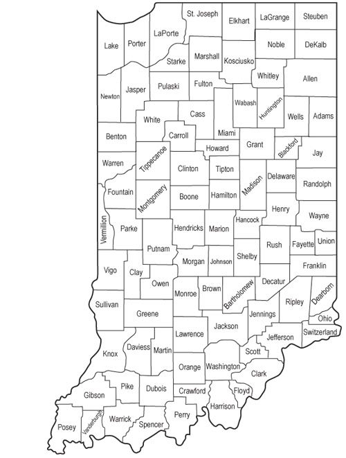 Map Of Indiana Counties DVA: COUNTY VETERAN SERVICE OFFICERS Map Of Indiana Counties