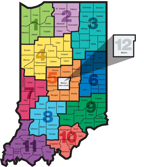 WorkOne Locations - Indiana physical map
