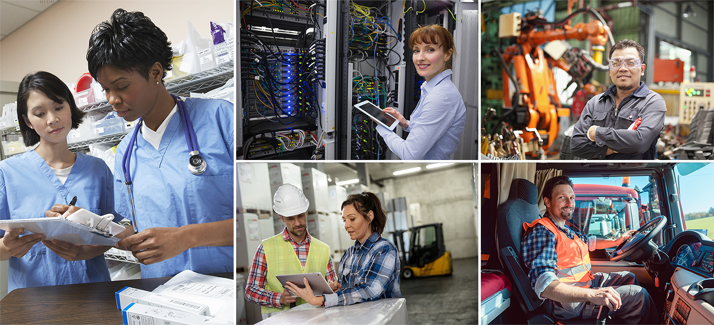 Trade Adjustment Assistance Collage of some of the professional served; Nursing, IT, Construction, Warehouse Work and Trucking