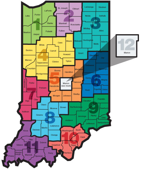 Economic Growth Regions Map with Region 12 Highlighted