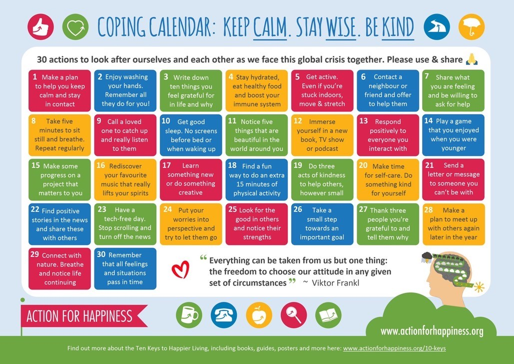 30 Day Coping and Kindness Calendar