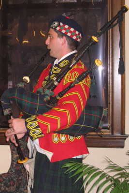 Bagpiper Chad Hughes performed a musicaltribute to Andrew Carnegie, a native Scotsman.