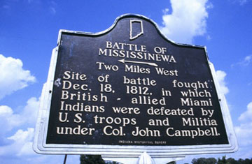 The Battle of Mississinewa Indiana Historical Marker