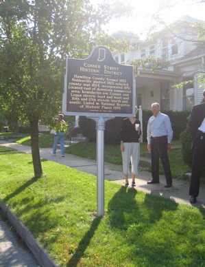 Two identical markers for the Conner Street Historic District are located at 1039 Logan Street, and Conner Street and 17th Street in Noblesville.