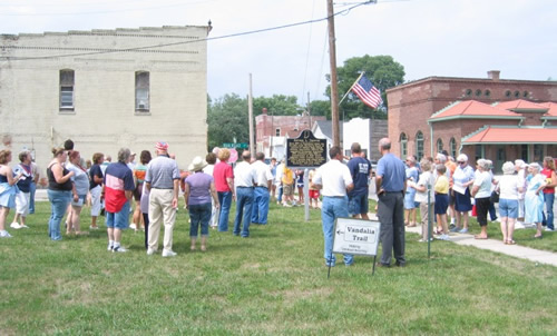 Approximately 90 people attended the the Arthur L. Trester Historical Marker dedication in Amo, Indiana on July 4, 2007.