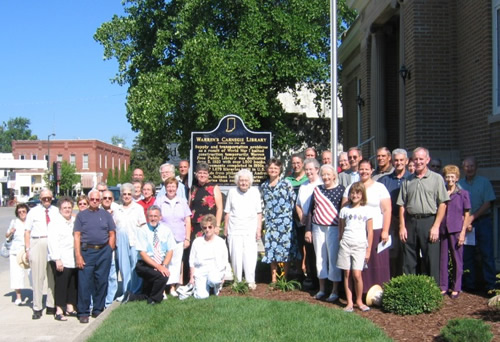 Nearly fifty people attended the historical marker dedication ceremony for Warren's Carnegie Library.