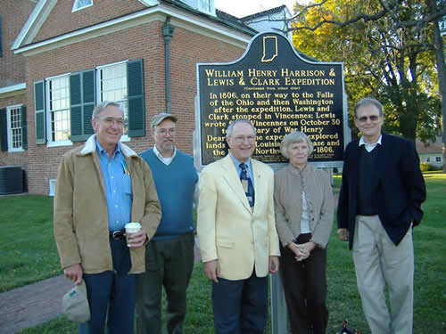Jerry Robertson, Jim Holmberg, Jim Keith, Linda Robertson, and Brad Brakke stand in for a picture in front the newly installed marker.