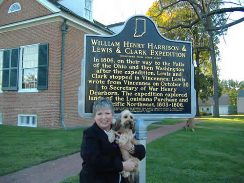 Paula Bongen and 'Ginny' the Indiana History Hound.