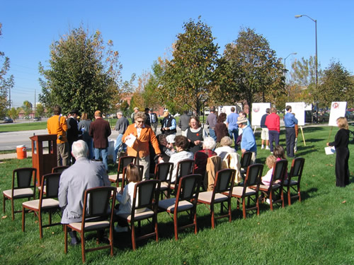 A crowd of approximately 60 people gathered for the Calvin Fletcher dedication ceremony.