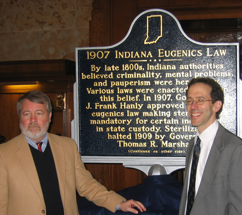 Dr. Paul A. Lombardo, Professor of Law at Georgia State University, and Rep. David Orentlicher, State Representative, with the marker.
