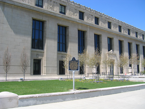 The marker is on the East Lawn of the Indiana State Library and Historical Building.